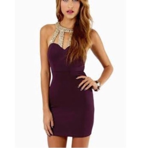 Tobi Dresses & Skirts | Plum And Gold Cocktail Dress With Cutouts ...